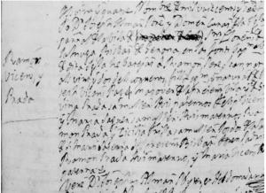 Part de l'acta baptismal en la qual es registra el naixament de Felip