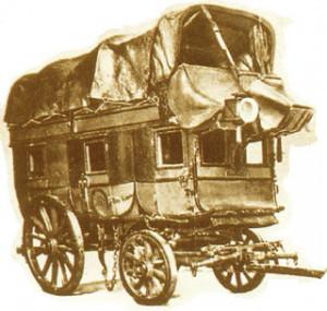 Galera catalana del XIX, de dos pisos. La diligencia de Perpiñán a Barcelona había de ser parecida pero mayor ya que cabían 30 viajeros y se la llamaba ómnibus.