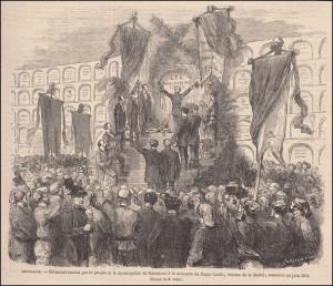 """""""Homenatge dels barcelonins a F. de P. Cuello l'any 1869 en el cementiri del Poble Nou. Le Monde Illustré, 17.7.1869"""""""