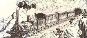 El primer tren de Barcelona a Mataró saliendo del túnel de Montgat