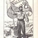Dibuix de la fi del XIX que representa un treballador català enlairant una bandera amb la reivindicació de la jornada de 8 hores