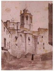 Cervera, l'any 1850, a la fi de la guerra. Gravat de Lluís Rigalt