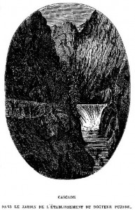 Cascada del Montdony en el establecimiento del doctor Pujade. Gravado de 1862.