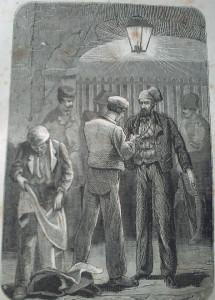 """Dos hiladores en la carcel. Estampa de la obra """"Memorias de un presidiario político"""", de Albert Columbrí, publicada en Barcelona en el año 1864"""
