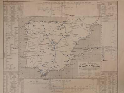 """Plànol de les primeres línies de telègraf. Imatge de l'article """"La telegrafía eléctrica en España"""". Ma. Victoria Crespo. Web: """"Asociación de amigos del telégrafo de España""""."""