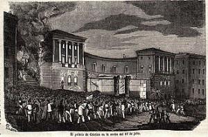 Asalto del palacio de Ma. Cristina de Borbón.