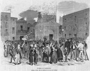 """Estampa que representa una de las revueltas recurrentes de obreros en Gràcia. En este caso, los revoltosos pegaron fuego a la oficina del Registro de la Propiedad""""."""