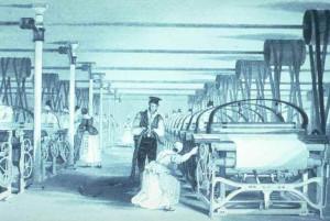 Imagen idílica de una fábrica textil catalana.