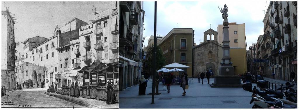 La plaza Pedró en el siglo XIX y en la actualidad.