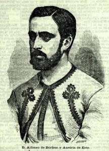 Alfonso Carlos de Borbón, germà de Carlos VII, amb l'uniforme dels zuaus