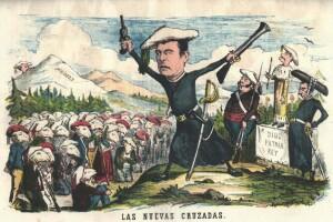 Caricatura de La Flaca. El capellà- trabucaire predicant a la tropa representada com un remat de xais.