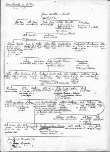 Arbre genealògic dels Savalls. Mnuescrit de Fernando Viader
