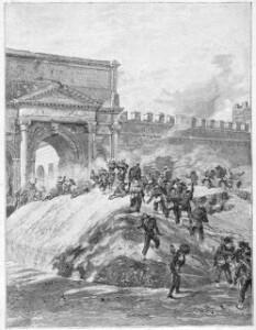 Assalt a la Porta Pia defensada pels zuaus pontificis