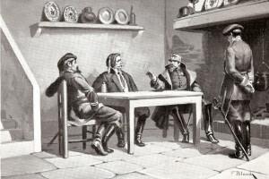 pintura de Francisco Blanch Sintes (1867- 1932) que representa el encuentro de los jefes liberales y carlistas en el hostal de la Corda