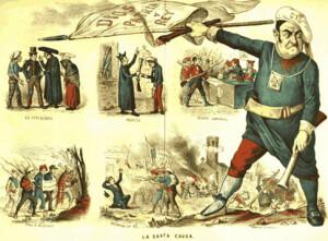 """caricatura de """"La Flaca"""", publicada l'any 1873"""