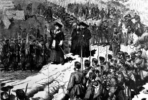 Rendició dels carlistes que ocupaven la Seu d'Urgell. Le Monde Illustré